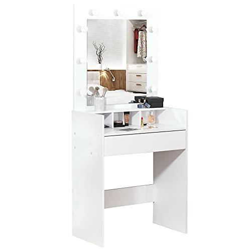 HOMCOM Schminktisch Frisiertisch Kosmetiktisch mit LED Spiegel Schublade 3 Ablagefächern Weiß 70 x 40 x 160 cm
