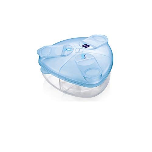 MAM Milchpulverspender, Milchpulver Box zum einfachen Befüllen von Babyflaschen, Milchpulverportionierer fasst bis zu 3 Portionen, 0+ Monate, Bär/Dino