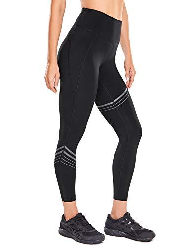 CRZ YOGA Mujer Leggings Recortados Entrenamiento Capris de Yoga Cintura Alta Sensación Desnuda -58cm Negro 44