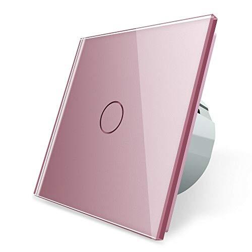 LIVOLO roze serie lichtschakelaar stopcontacten glazen afdekking touch voor kinderkamer roze bont roze lichtschakelaar wandschakelaar glazen frame glazen afdekking Lichtschakelaar 1 vak VL-C701-17 roze