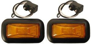Amber LED 15 Series Marker Lights w Grommets + Pigtails