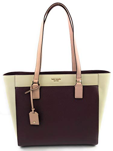 Kate Spade New York Cameron Womens Saffiano Leather Laptop Tote Shoulder Bag (Cherry/white)