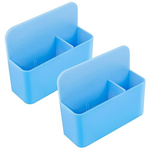 Haisheng 2 Stück Magnetisch Marker Halter Whiteboard Stifthalter für magnetische Oberflächen Whiteboard Halterung Kühlschrank Spind Schreibtisch-Organizer Aufbewahrungsbox Radiergummi Halterung (Blau)