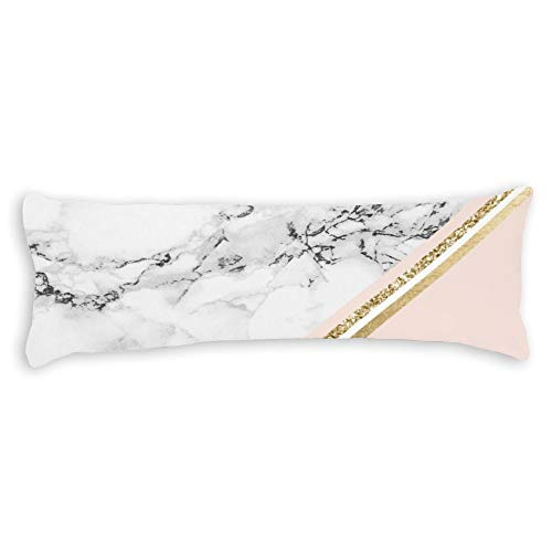 White Marble Blush Gold Stripes Color Block Ultra Soft Microfiber Long Body Pillow Cover Pillowcases with Hidden Zipper Closure for Kids Adults Pregnant Women, 20' x 54'