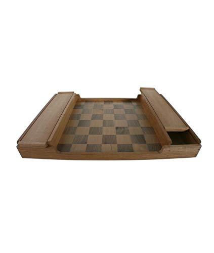 CAL FUSTER - Tablero para Juego de ajedrez en Madera Maciza de Cedro y Nogal con Guarda fichas. Medidas: 44x32 cm.
