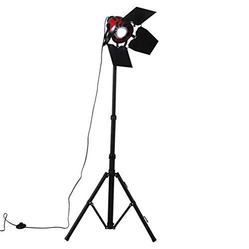 CLJ-LJ Lámpara de pie retro industrial de Steampunk Rojo y Negro Foco reflector Hierro forjado trípode lámpara de pie con 1,7 M del interruptor de pie ajustable en altura giratorio de la lámpara princ