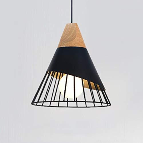 GPWDSN moderne eenvoudige hanglamp creatieve metalen hanglamp massief hout kegel vorm verstelbare hanglampen kooi Mini Decor ijzeren hoorn kroonluchters voor eetkamers E27 Ø30CM