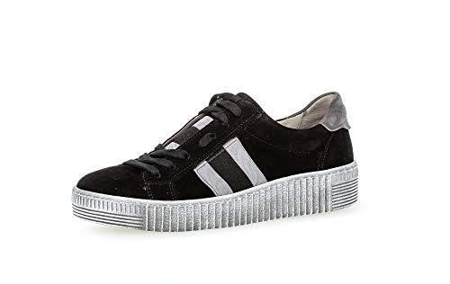 Gabor Damen Sneaker, Frauen Low-Top Sneaker,Best Fitting,Optifit- Wechselfußbett, Turnschuhe Laufschuhe Freizeit,schwarz/Grey(Smoky,38 EU / 5 UK