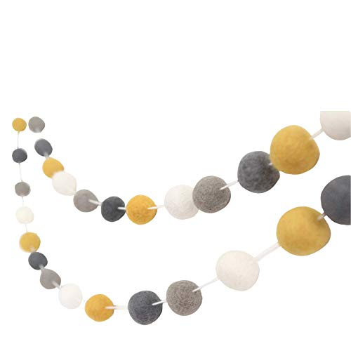 'Don't Worry, Be Happy' 7 ft long- Handmade Felt Ball Garland by Sheep Farm Felt- Mustard, Gray, and White Pom Pom Garland. 2.5 cm balls.
