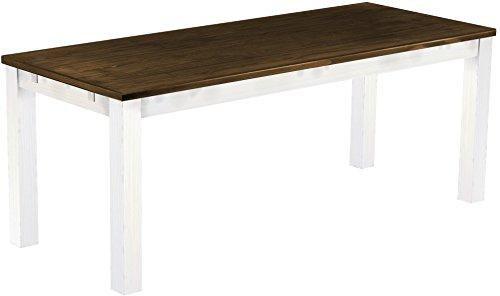 Brasilmöbel - Tavolo da pranzo 'Rio Classico', 200 x 80 cm, in legno massello di pino massiccio, colore: rovere anticato