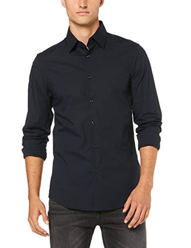 G-STAR RAW Camisa de Hombre básica Slim Lisa Azul