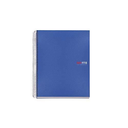 "Miquelrius 8 Subject Medium Spiral Notebook, College Ruled, Blue (6"" x 8"")"