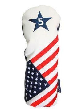 Majek USA Vintage Golf - Golf-Schlägerkopfhüllen für Holz in Rot / Weiß / Blau, Größe Fits All Modern Metal Fairway Woods