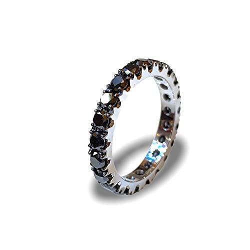 Anillo de eternidad con diamantes de oro blanco anillo de compromiso con diamantes negros 2,33 ct anillo de oro blanco y diamantes idea regalo joyas mujer