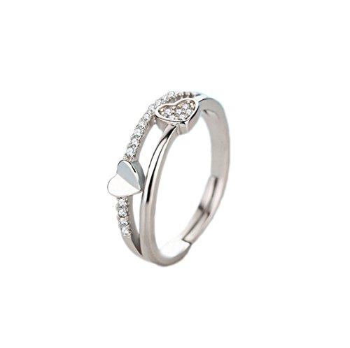 BIGBOBA Herzförmiger Diamantring, modisch, verstellbar, mit Öffnung, Kristallring für Paare, Geschenk, Schmuck