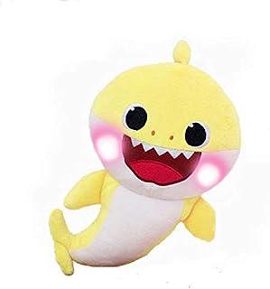دمية مخملية بشكل قرش تغني - دمية موسيقى مخملية ناعمة للاطفال بتصميم شخصية القرش الكرتونية ألعاب محشوة ومخملية للاطفال - اصفر