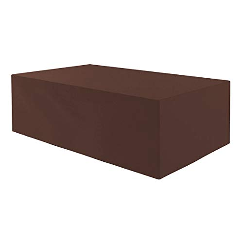 Planesium Premium Funda de Muebles de Jardín Mesa protectora Cubierta Impermeable Tela Oxford Resistente al Desgarro Marrón 160cm x 140cm x 100cm