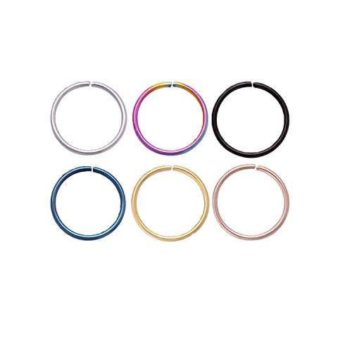 lumous rola Nose Rings Fake Nose Ring Surgical Steel Cartilage Helix Tragus Earring Hoop Lip Piercing Jewellery for Women Mens 18G 20G 6mm 8mm 10mm