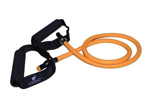 Airavat Resistance Band Toning Tube with Door Strap - Exercise Bands for Stretching, Workout, Weight Loss for Men, Women (Level 3, Orange 4501)