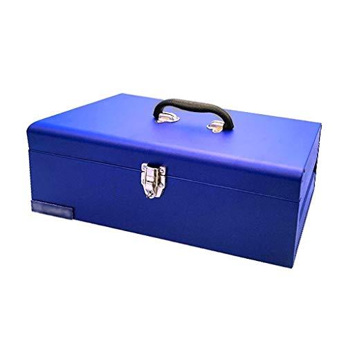 Valigetta Attrezzi Toolbox Industrial Grade Ferro ispessimento Toolbox portatile della famiglia degli strumenti di sicurezza bagagli con la serratura in lega (blu) Garage Accessori (Color : B)