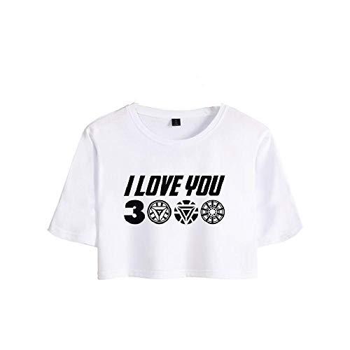 NOBRAND - Camiseta de manga corta con ombligo para niñas B White XXL