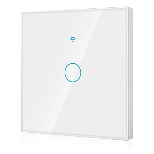 Panel de interruptores Wifi unidireccional a prueba de golpes con interruptor de WiFi para control de voz de Alexa y Google Home(white, European regulations)