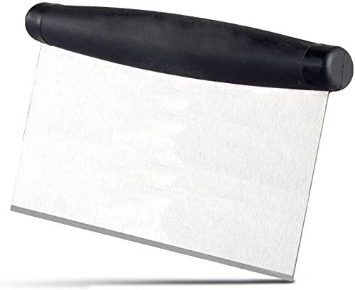 Raspador multiusos para masa de acero inoxidable, cortador profesional para pizza/masa/pastel/pastel/pastel/fondante/pan/mesa de banco, espátula para hornear y limpiar