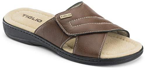 TIGLIO Ciabatte, Pantofole da Uomo in Pelle MOD. 809 Velcro Marrone (Numeric_43)