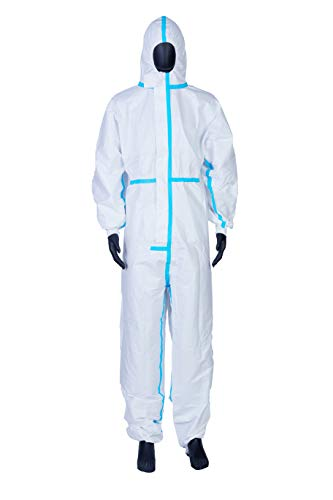 Coveralls for Men, Women, Protective Coverall Suit with Hood, Disposable Full Body Isolation Gown, Lightweight, Breathable & Durable (XL-180)