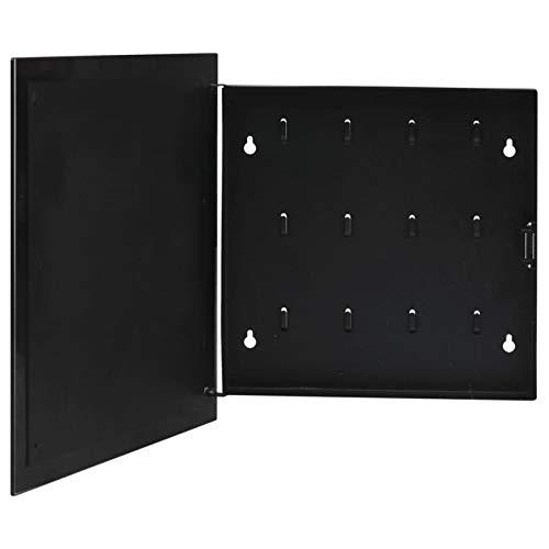 Soporte de pared para armario de llaves, organizador de llaves con bloqueo, caja de seguridad para almacenamiento de llaves con código, gestión de llaves, ganchos para llaves (Negro,35x35x5.5cm)