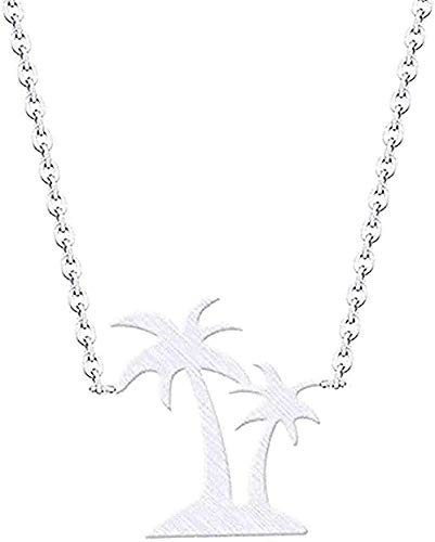 YUNQIYZH Co.,ltd Necklace Hawaii Beach Jewelry Double Palm Necklaces & Pendants Stainless Steel Coconut Necklace Women Pendant Necklace Girls Boys Gift
