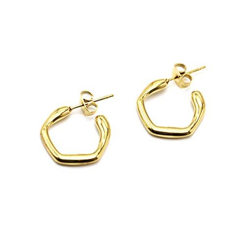 BO2010 - Pendientes de aro hexagonales de acero dorado