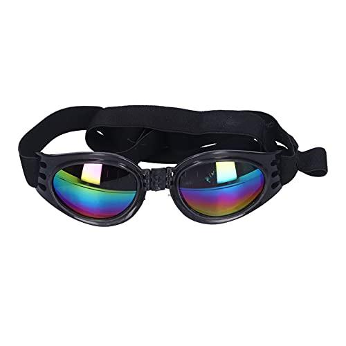 Pssopp Gafas para Mascotas Gafas de Sol para Perros Impermeables a Prueba de Viento Gafas Plegables para Cachorros Protección UV Gafas de Sol para Perros medianos y Grandes(Negro)