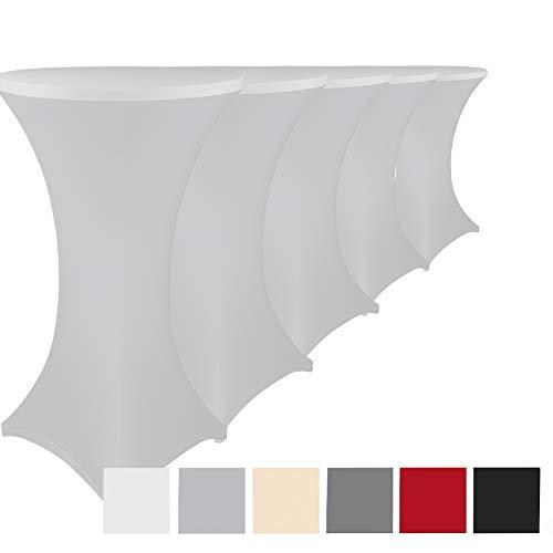 DILUMA Stehtischhussen Stretch Elastique 5er Set - elastische Premium Stretchhusse für alle gängigen Bistrotische und Stehtische - dehnbarer Tischüberzug mit ÖkoTex100, Farbe:Weiß, Größe:Ø 60-65 cm