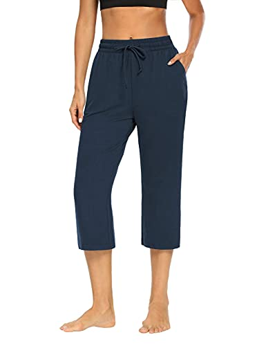 NOAHELLA Womens Yoga Capri Pants Wide Leg Drawstring Workout Crop Pants Capris Sweatpants Comfy Lounge Pants with Pockets Navy Blue XL