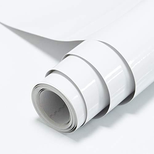 Timeet 60x500cm Blanc Papier Adhesif pour Meuble Brillant Imperméable Decoratif Papier Vinyle Film Plastique Collant Autocollants de Meubles pour Armoires de Cuisine Imperméable Rouleau