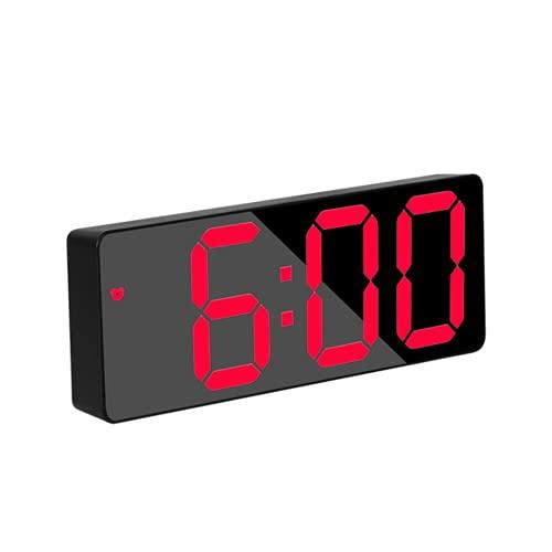 QYYL Reloj Despertador Digital, LED Pantalla Reloj Alarma Inteligente con Temperatura y Función Despertado, USB y Funciona con Pilas, para Dormitorio Oficina y Viajes (Red/1)