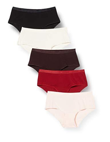 Dim - BOXER LES POCKETS X5 Sous-vêtements pour femme, Nacre/Rose Ballerine/Marron PRECIEUX/Rouge RHUBARBE/Noir, L (FR : 44/46) - pack de 5