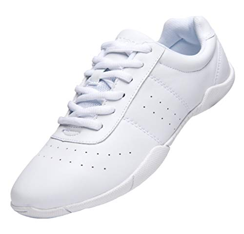Lnafan Women's Girls' Lace Up Gym Sport Aerobics Cheerleading Training Dance Shoes White Size...