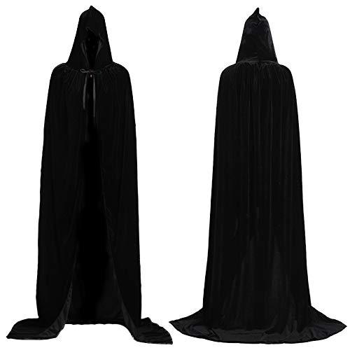 Mrisbtre Umhang Schwarz Unisex mit Kapuze Lange Samtumhang Cape Vampir Kostüm Halloween Karneval Fasching 04BL