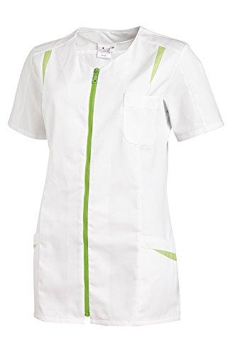Casaca de señora, manga corta con cremallera (42, blanco/verde claro)