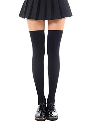 SHUCLASS ニーハイソックス レディーズ オーバーニーソックス 着圧 cosplayや制服用 黒いロングソックス 長さ70cm丈 ブラック