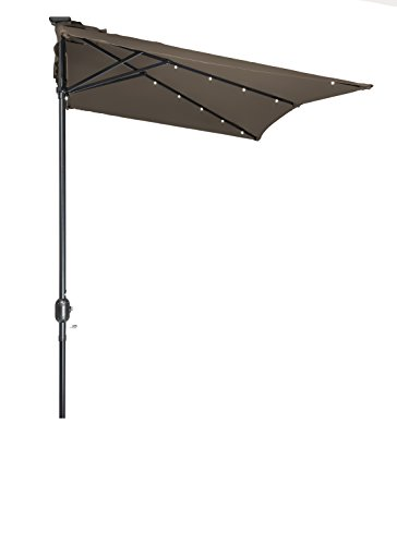5' x 6.5' LED Rectangular Patio Half Umbrella - by Trademark Innovations (Tan)