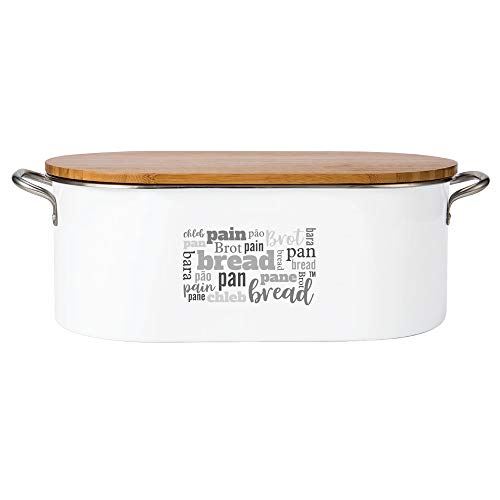 "Bread Box with Cutting Board Lid. White Powder Coated Galvanized Metal. Long Life/Easy Clean. Stainless Steel Handles. Larger Size. Multilingual Word Design. 16.5""W x 5.5""H x 8""D (with handles & lid)"