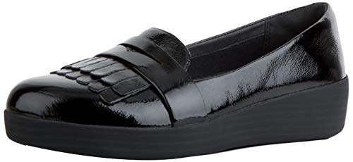 Fit Flop Fringey TM Sneakerloafer Patent, Mocasines Mujer, Negro (Black 001), 36 EU