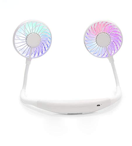 Portable Fan USB Rechargeable with Dual Wind Head Aromatherapy Fan Hand Free Wearable Neckband Fan for Camping Traveling Office Room Kids Stroller (White (Upgraded with Light))
