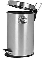 "King International Plain Pedal Dustbin with Bucket, 7""X10"", 5 Liter, Silver"
