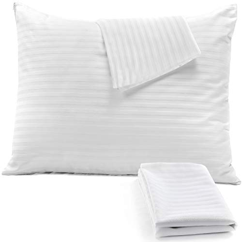 4Pack Pillow Protectors Standard 20x26 100% Cotton Sateen Style 450 Thread Count Lab Tested Tight Weave??Life Time Replacement ?? Premium Non Noisy Zip (Standard 4 Pack 20x26)