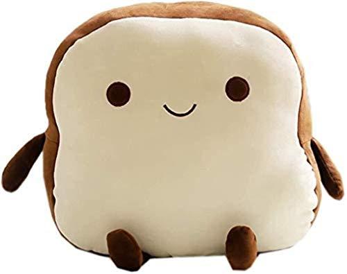 EREL Simulation Toast Brot Plüsch Spielzeug Nettes lustiges Brot Snack Plüschkissen Kreatives Plüschpuppenkissen Geburtstagsgeschenk (Dunkelbraun-lächeln Toast) dedu