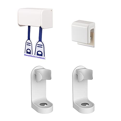 Toothbrush Holder,Toothpaste Holder,Wall Mounted Adhesive Bathroom Shower Organizer for Electric Toothbrush,Toothpaste and Towel,Family Set 4PACK